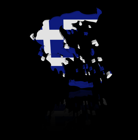 reflection: Greece map flag with reflection illustration Stock Photo