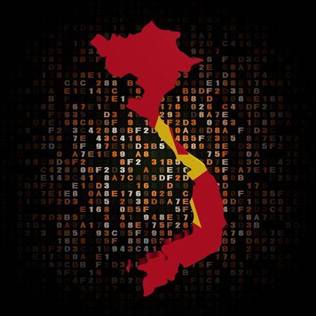 hex: Vietnam map flag on hex code illustration Stock Photo