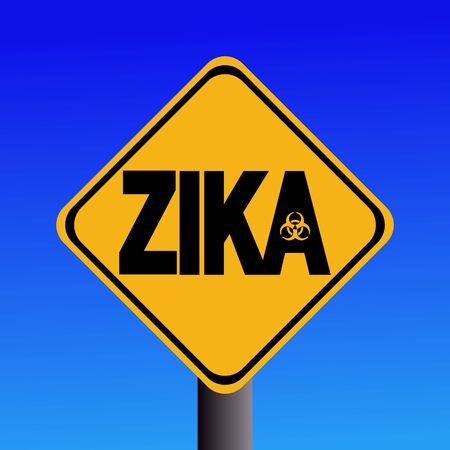 infectious disease: Zika virus warning sign on blue illustration