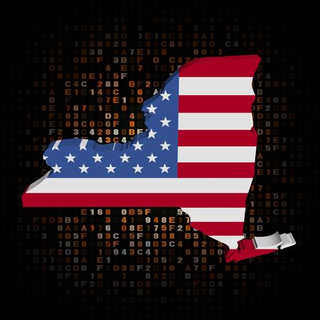 hex: New York map flag on hex code illustration