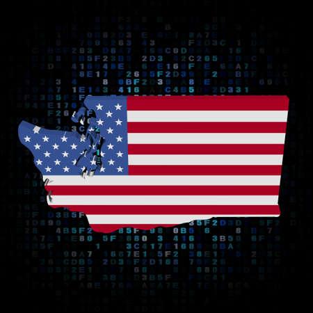 hex: Washington map flag on hex code illustration Stock Photo