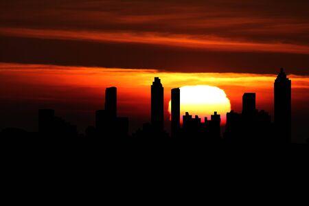 atlanta: Atlanta skyline at sunset illustration Stock Photo
