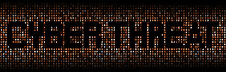 exploit: Cyber threat text on hex code illustration Stock Photo