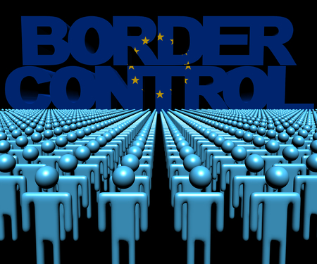 migrating: Border Control text with EU flag and crowd of people illustration