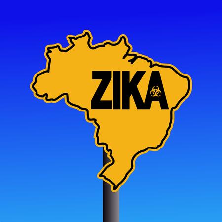 infectious disease: Zika virus warning Brazil map sign on blue illustration Stock Photo