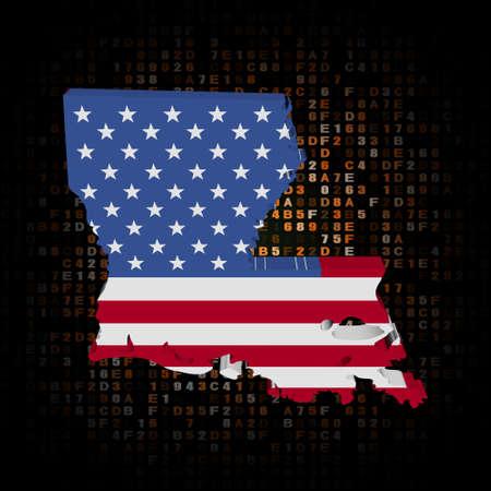 louisiana flag: Louisiana map flag on hex code illustration Stock Photo