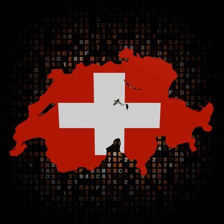 hex: Switzerland map flag on hex code illustration