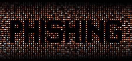 malicious software: Phishing text on hex code illustration Stock Photo