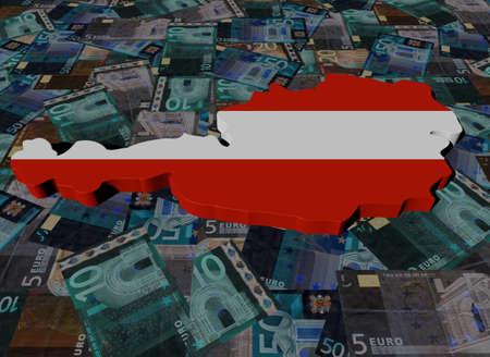 austria map: Austria Map flag on Euros illustration