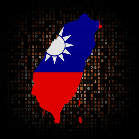 taiwanese: Taiwan map flag on hex code illustration