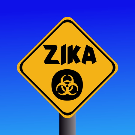 infectious: Zika virus warning sign on blue illustration