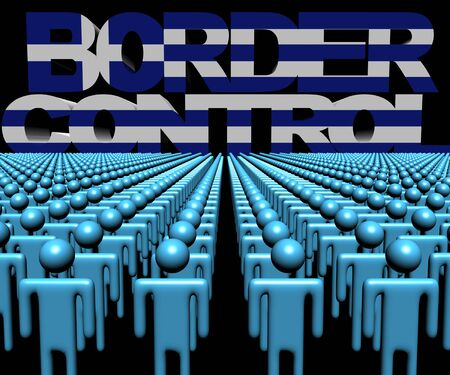 multitude: Border Control text with Greek flag and crowd of people illustration