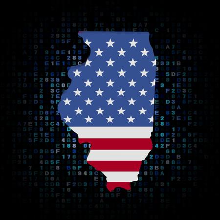 hex: Illinois map flag on hex code illustration Stock Photo