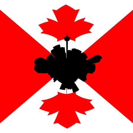 canadian flag: Calgary circular skyline with Canadian flag illustration Stock Photo