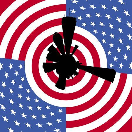 boston skyline: Boston circular skyline with American flag illustration