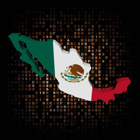 hex: Mexico map flag on hex code illustration Stock Photo