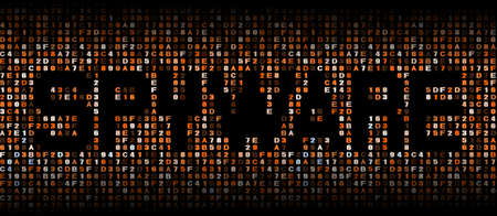 spyware: Spyware text on hex code illustration Stock Photo