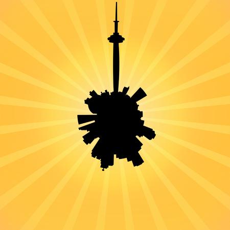 toronto: Circular Toronto skyline on sunburst illustration Stock Photo