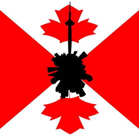 canadian flag: Toronto circular skyline with Canadian flag illustration