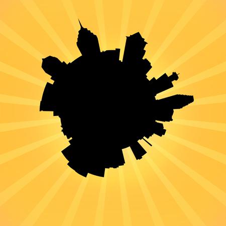 philadelphia: Circular Philadelphia skyline on sunburst illustration