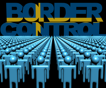 migrating: Border Control text with Swedish flag and crowd of people illustration