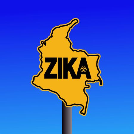 infectious: Zika virus warning Colombia map sign on blue illustration Stock Photo