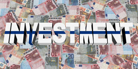 finnish: Investment text with Finnish flag on Euros illustration Stock Photo