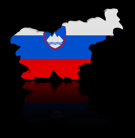 slovenia: Slovenia map flag with reflection illustration Stock Photo
