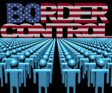 multitude: Border Control text with American flag and crowd of people illustration