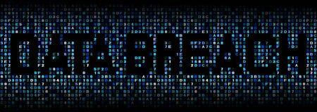 cyber warfare: Data Breach text on hex code illustration