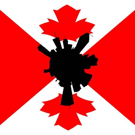 canadian flag: Montreal circular skyline with Canadian flag illustration Stock Photo