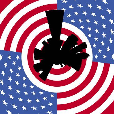 houston flag: Houston circular skyline with American flag illustration