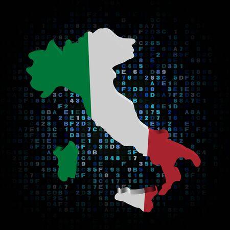 bandera italia: Italia Mapa de la bandera en la ilustraci�n de c�digo hexadecimal Foto de archivo