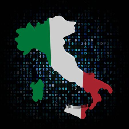 flag of italy: Italy map flag on hex code illustration