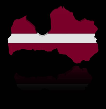 in reflection: Latvia map flag with reflection illustration