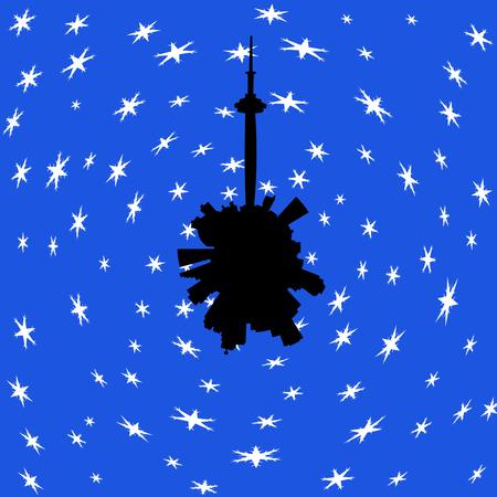 toronto: Toronto circular skyline in winter with snow illustration