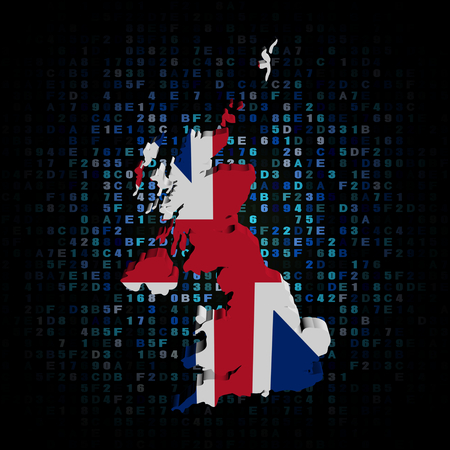 uk map: UK map flag on hex code illustration Stock Photo