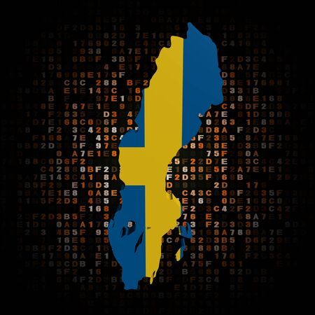 hex: Sweden map flag on hex code illustration