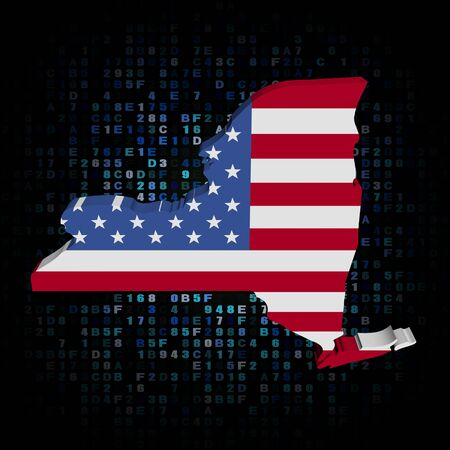 new york map: New York map flag on hex code illustration