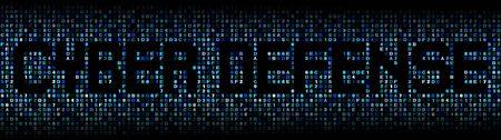 cyber warfare: Cyber Defense text on hex code illustration