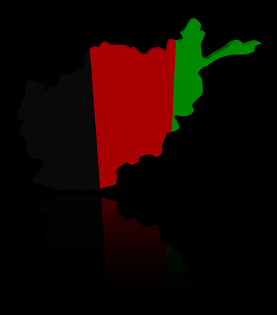 afghan: Afghanistan map flag with reflection illustration