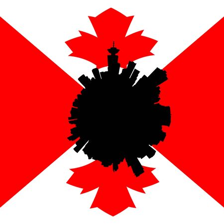 vancouver city: Vancouver circular skyline with Canadian flag illustration