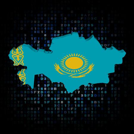 hex: Kazakhstan map flag on hex code illustration