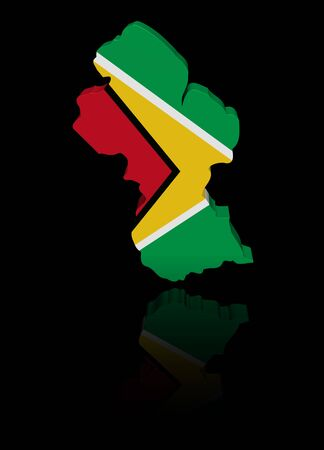 in reflection: Guyana map flag with reflection illustration Stock Photo