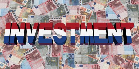 dutch flag: Investment text with Dutch flag on Euros illustration