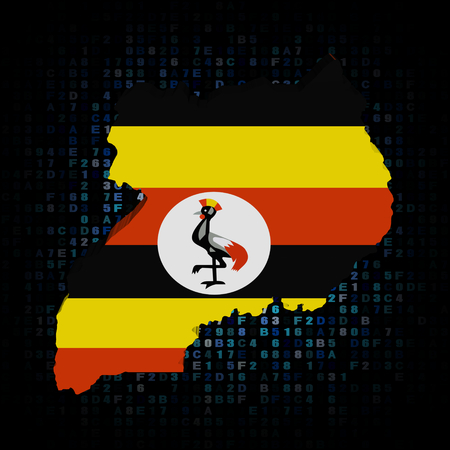 hex: Uganda map flag on hex code illustration