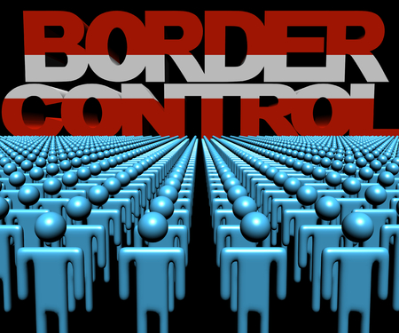 austrian: Border Control text with Austrian flag and crowd of people illustration Stock Photo