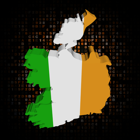ireland map: Ireland map flag on hex code illustration