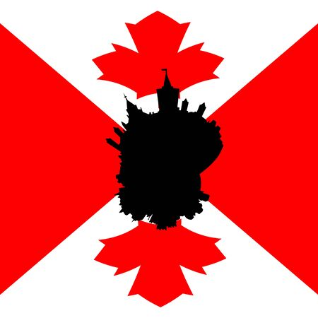 canadian flag: Ottawa circular skyline with Canadian flag illustration