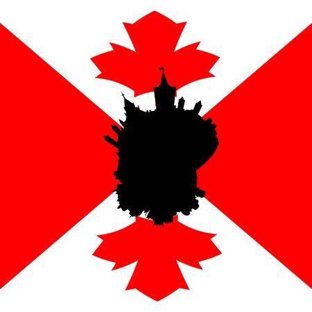 canadian flag: Ottawa circular skyline with Canadian flag illustration